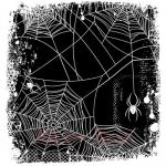 Deep Red Stamps - Spider Web Background