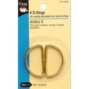 """Dritz D-Rings - [117-112-35] 1 1/2"""", Gold"""