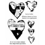 Dina Wakley Media Unmounted Rubber Stamp - Collaged Hearts