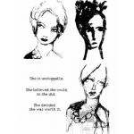 Dina Wakley Media Unmounted Rubber Stamp - Scribbly Women
