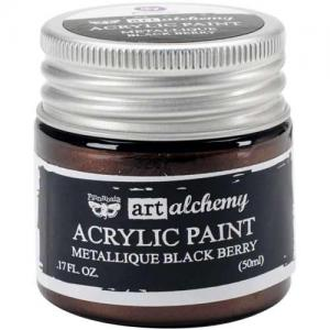 Finnabair Art Alchemy Acrylic Paint - Metallique Black Berry