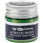 Finnabair Art Alchemy Acrylic Paint - Metallique Green Olive - ON SALE!
