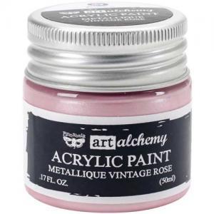 Finnabair Art Alchemy Acrylic Paint - Metallique Vintage Rose
