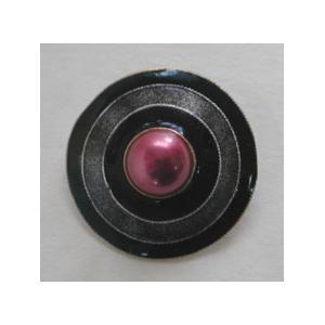 GM Pearl Circle Button - Black/Pink Pearl