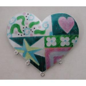 GM Quilt Heart Pin - Turquoise/Pinks