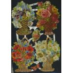 Glittered Victorian Scrap Pictures [7183G] - Flower Baskets - ON SALE!