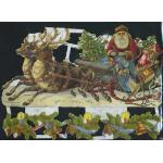 Glittered Victorian Scrap Pictures [7194G] - Santa iIn Sleigh - ON SALE!