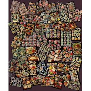 Glittered Victorian Scrap Picture Assortment - 50 Sheets - Flowers [850-10] - ON SALE!