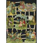 Glittered Victorian Scrap Pictures [7349G] - Easter Bunnies - ON SALE!