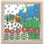Hampton Art Color Me Wood Mount Rubber Stamp - Garden [PS1028]