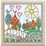 Hampton Art Color Me Wood Mount Rubber Stamp - Neighborhood [PS1027]