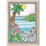 Hampton Art Color Me Wood Mount Rubber Stamp - Paradise [PS1031]