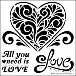 Hot Off The Press Stencil - Fancy Heart and Words [9247]