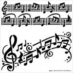 Hot Off The Press Stencil - Music Notes [9256]
