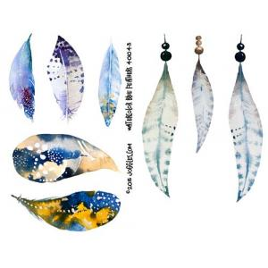Joggles Collage Sheets - Watercolor Blue Feathers [JG401043]