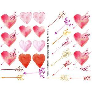 Joggles Collage Sheets - Watercolor Hearts & Arrows [JG401102]