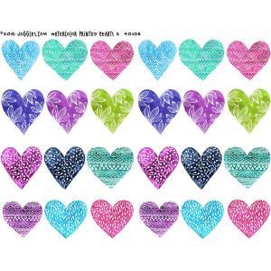 Joggles Collage Sheets - Watercolor Printed Hearts 2 [JG401103]