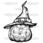 Joggles Cling Mounted Rubber Stamp - Halloween Pumpkin With Hat [33678]