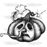 Joggles Cling Mounted Rubber Stamp - Scared Pumpkin [33684]