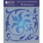 """JudiKins 6"""" x 6"""" Kite Stencil - Floral Flourish [KS 15]"""