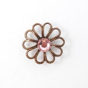 Nunn Designs Ornamental Brads - [jbc-ob] Jewelled Filigree Flower Brad, Open Copper