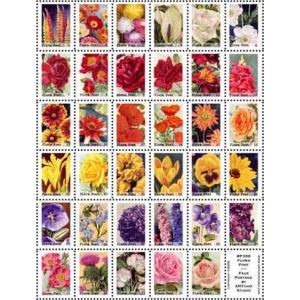 ARTchix Faux Postage Sticker Sheet - P308 Flora Post