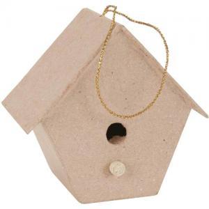 Paper Mache  Tapered Birdhouse Ornament [28-0132]
