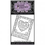 Paper Parachute Cling Rubber Stamp - Small Grid Heart [UMCS-005]