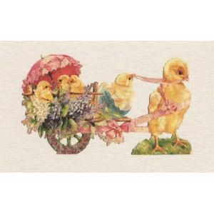 Printed Fabric Image - Chick Pulling Wagon