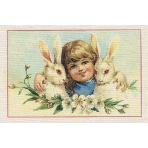 Printed Fabric Image - Little Girl with Bunnies