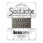 Beadsmith Rayon Soutache Braid - Silver Grey/Black Stripe