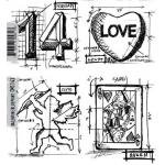 Stampers Anonymous/Tim Holtz Unmounted Rubber Stamps - [CMS143] Valentine Blueprint