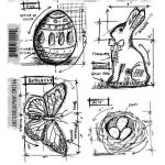 Stampers Anonymous/Tim Holtz Unmounted Rubber Stamps - [CMS144] Easter Blueprint
