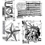 Stampers Anonymous/Tim Holtz Unmounted Rubber Stamps - [CMS145] Americana Blueprint