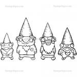 Stampotique Originals - [4047] 4 Dwarfy Gnomes