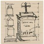 Tim Holtz by Stampers Anonymous Wood Mounted Stamp - [U2-1945] Tomb Sketch