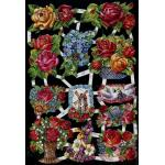 Glittered Victorian Scrap Pictures [7006G] - Flowers - ON SALE!