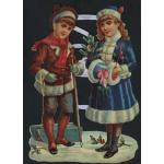 Victorian Scrap Pictures [7106] - Sledding Children - ON SALE!