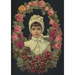 Loose Victorian Scrap [5054] - Floral Wreath With Girl - ON SALE!