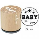 Woodies Mounted Rubber Stamp - Baby Boy [6007]