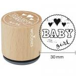 Woodies Mounted Rubber Stamp - Baby Girl [6008]