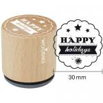 Woodies Mounted Rubber Stamp - Happy Holidays [7006]
