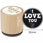 Woodies Mounted Rubber Stamp - I Love You [4004]