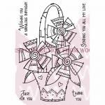 Woodware Clear Magic Singles Stamp - Doodle Flower Basket [FRS295]