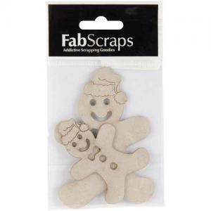 FabScraps Die Cut Chipboard Embellishment - Gingerbread Men [013]